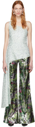 Halpern Green and White Sequin Single-Shoulder Tank Top