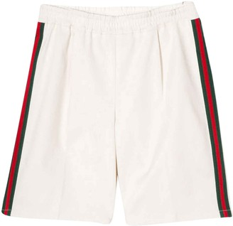Gucci White Bermuda Shorts With Side Stripes