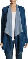 Neiman Marcus Cascading Long-Sleeve Cardigan, Distressed Blue