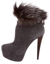 Alice + Olivia Fox Fur-Trimmed Ankle Boots
