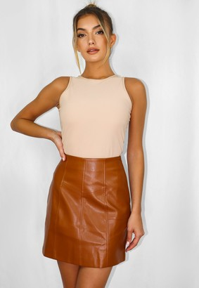 Missguided Tan Faux Leather Panel Detail Mini Skirt