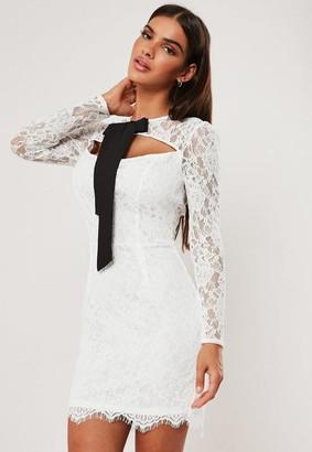 Missguided Lace Tie Detail Mini Dress