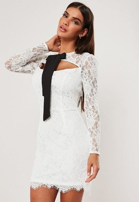 Missguided White Lace Tie Detail Mini Dress