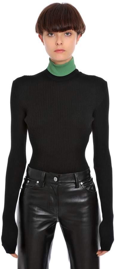 Calvin Klein Ribbed Wool Turtle Neck Top