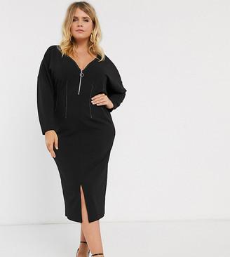 Asos DESIGN Curve long sleeve zip front constrast stitch dress-Black