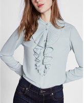 Express ruffle front band collar blouse