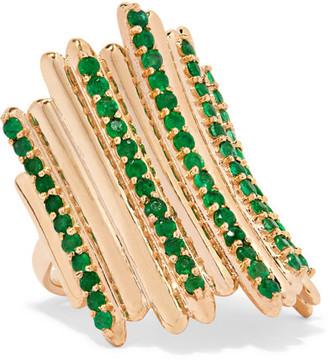 Ileana Makri Grass Fence 18-karat Gold Emerald Ring - 6