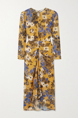 Veronica Beard Raylee Floral-print Fil Coupe Silk-blend Crepe De Chine Midi Dress - Saffron