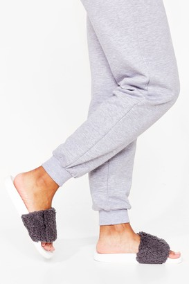Nasty Gal Womens Faux Fur Way Out Sliders - Grey - 5, Grey