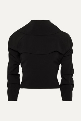 A.W.A.K.E. Mode Draped Backless Crepe De Chine Top - Black