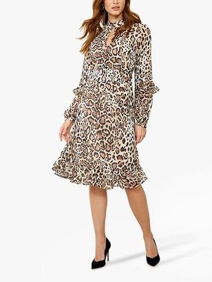 Sosandar Leopard Print Fit And Flare Ruffle Dress, Brown