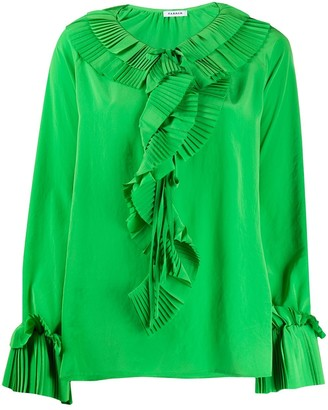 P.A.R.O.S.H. Pleated Trim Loose-Fit Blouse