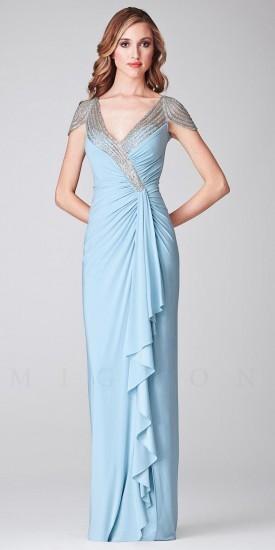 Mignon Asymmetrically Gathered Beaded Sleeve Long Evening Dresses
