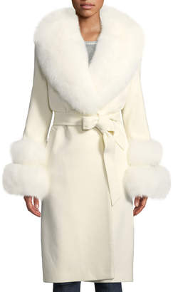 Sofia Cashmere Fur Shawl-Collar & Double-Cuff Coat