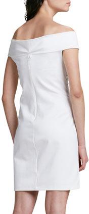 Halston Off-the-Shoulder Lace-Up Ponte Dress