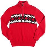 Chaps Boys 8-20 Fairisle Stripe Quarter-Zip Sweater
