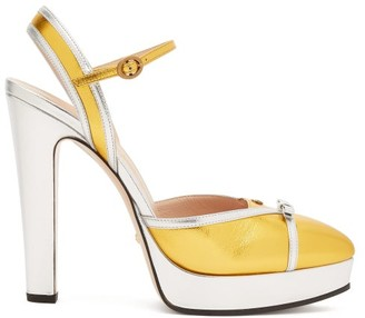 Gucci Alison Metallic-leather Platform Pumps - Womens - Silver Gold