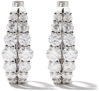 As 29 18kt white gold Essentials two branches round diamond hoop earrings