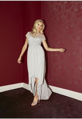 Little Mistress Bridesmaid Elise Grey Hand-Embellished Sequin Hi-Low Prom Dress