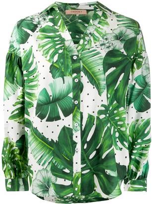 Twin-Set Leaf Print Cotton Shirt