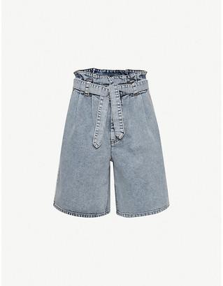 Gestuz Atica belted high-rise stretch-denim shorts
