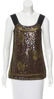 Philosophy di Alberta Ferretti Sequined-Embellished Mesh Over-Lay Top