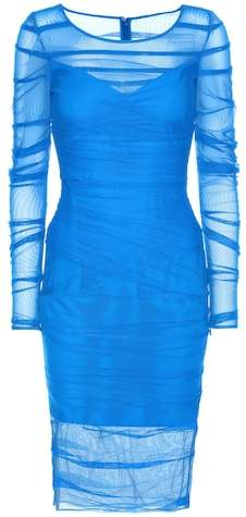 Versace Ruched mesh dress