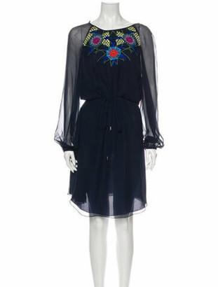 Matthew Williamson Silk Knee-Length Dress w/ Tags Blue