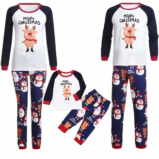 Harpily Merry Christmas Family Pyjamas Set Cartoon Deer Printed Matching Family Clothes Set Outfits Sleepwear Pajamas Tops&Long Pants White Dad S
