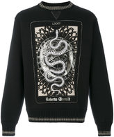 Roberto Cavalli snake print ribbed sweatshirt - men - Cotton/Viscose/Wool - S