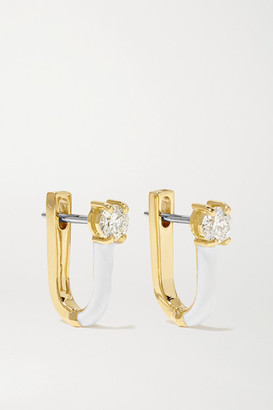 Melissa Kaye Aria U Huggie 18-karat Gold, Enamel And Diamond Earrings - one size