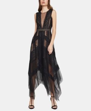 BCBGMAXAZRIA Andi Asymmetrical Striped-Lace Dress