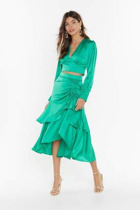 Nasty Gal Womens Waves Of Emotion Satin Midi Skirt - Green - S, Green