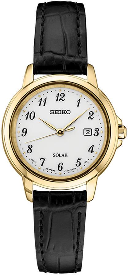 Seiko Women's Solar Essentials Black Leather Strap Watch 28mm