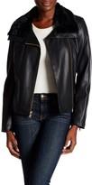 Cole Haan Faux Fur Trimmed Faux Leather Jacket