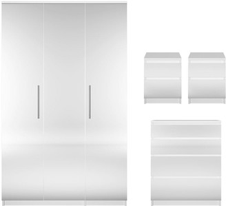 Prague Mirror 4-Piece Package - 3 Door Wardrobe, 4 Drawer Chest and 2 Bedside Cabinets (Buy and SAVE!)