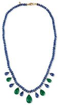 Splendid Blue Sapphire Rondelle & Emerald Briolette Necklace