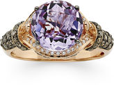 LeVian CORP LIMITED QUANTITIES Grand Sample Sale Genuine Amethyst and 1/2 CT. T.W. White and Chocolate Diamond Ring