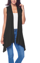 Brooke & Emma Women's Sweater Vests BLACK - Black Drape-Front Open Vest - Women & Plus