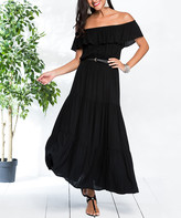 Milan Kiss Women's Casual Dresses BLACK - Black Off-Shoulder Peasant Dress - Women