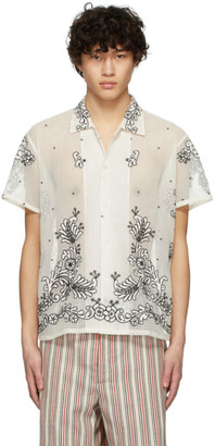 Off-White Bode Embroidery Mesh Bevel Shirt