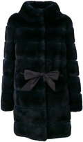 Liska belted panelled coat