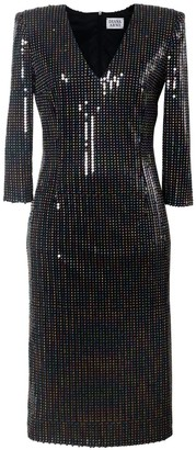 Diana Arno Serena Sequin Dress With Padded Shoulders