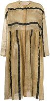 Uma Wang striped sheer collarless coat