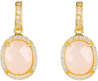 Latelita Beatrice Oval Gemstone Drop Earrings Gold Rose Quartz