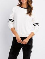 Charlotte Russe Varsity Stripe Ringer Sweatshirt