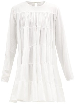 Merlette New York Soliman Tiered Cotton Mini Dress - White