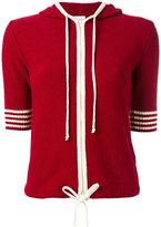 RED Valentino shortsleeved drawstring knitted hoodie - women - Cotton/Polyamide - S