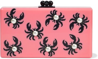 Edie Parker Jean Faux Pearl-embellished Printed Acrylic Box Clutch