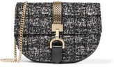 Lanvin Lien Chain-trimmed Bouclé And Leather Shoulder Bag - Black